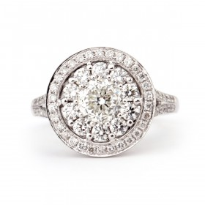 白色 钻石 戒指, 0.79 克拉 总重, 圆型 形状