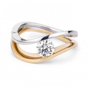 白色 钻石 戒指, 0.59 重量, 圆型 形状