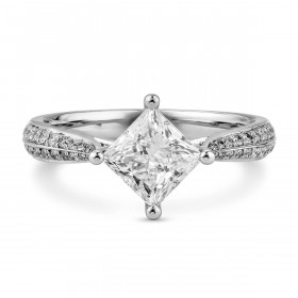 白色 钻石 戒指, 1.21 重量 (1.41 克拉 总重), 公主方型 形状, GIA 认证, 6225059940