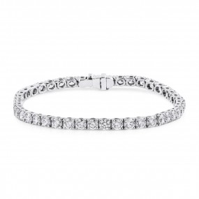 White Diamond Bracelet, 8.90 Carat, Round shape