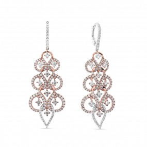 粉色 钻石 耳环, 0.88 重量 (2.39 克拉 总重), 圆型 形状, EG_Lab 认证, J5726220125