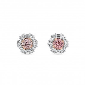 呈橙色的 粉色 钻石 耳环, 0.33 重量 (0.61 克拉 总重), 圆型 形状, ARGYLE 认证, JCEF05481230