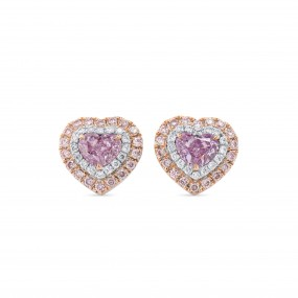 很轻 粉色 钻石 耳环, 1.03 重量 (1.43 克拉 总重), 心型 形状, GIA 认证, JCEF05515848