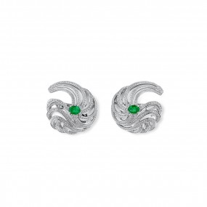天然 绿色 祖母绿型 耳环, 1.23 重量 (3.54 克拉 总重), 无烧