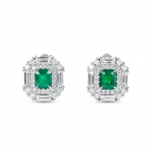 天然 绿色 祖母绿型 耳环, 1.13 重量 (2.29 克拉 总重)