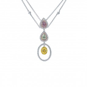 浅 呈紫色的 粉色 钻石 项链, 1.23 重量 (2.18 克拉 总重), 梨型 形状, GIA 认证, JCNF05430165
