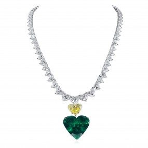天然 Vivid Green 祖母绿型 项链, 45.90 重量 (98.83 克拉 总重), GRS 认证, JCNG01101778