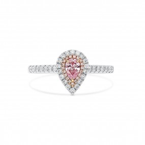 浅 呈紫色的 粉色 钻石 戒指, 0.19 重量 (0.46 克拉 总重), 梨型 形状, GIA 认证, 2201212268