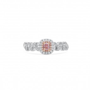呈褐色紫色的 粉色 钻石 戒指, 0.14 重量 (0.32 克拉 总重), 镭帝恩型 形状, GIA 认证, 6207212894