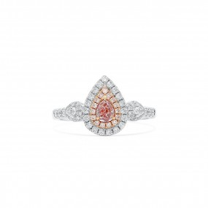 Brownish Purplish 粉色 钻石 戒指, 0.26 重量 (0.71 克拉 总重), 梨型 形状, GIA 认证, 6183845372