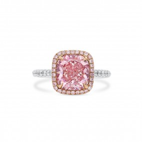 Fancy Light Pinkish Brown Diamond Ring, 3.07 Ct. (3.46 Ct. TW), Cushion shape, GIA Certified, 5192411962