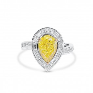 艳 黄色 钻石 戒指, 2.03 重量 (3.33 克拉 总重), 梨型 形状, GIA 认证, 2165525480