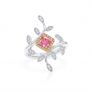 很轻 粉色 钻石 戒指, 0.43 重量 (0.70 克拉 总重), 镭帝恩型 形状, GIA 认证, 2215246372