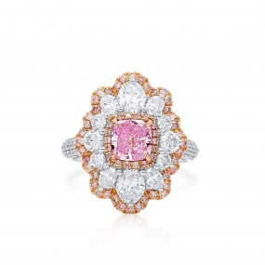 粉色 紫色 钻石 戒指, 1.02 重量 (3.17 克拉 总重), 枕型 形状, GIA 认证, 1162213947