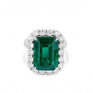 天然 Vivid Green 祖母绿型 戒指, 11.04 重量 (13.25 克拉 总重), GRS 认证, GRS2018-078132, 无烧