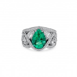 天然 绿色 祖母绿型 戒指, 2.82 重量 (5.31 克拉 总重), GRS 认证, GRS2019-068058, 无烧