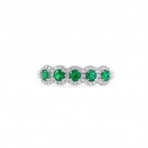 天然 绿色 祖母绿型 戒指, 0.45 重量 (0.71 克拉 总重)