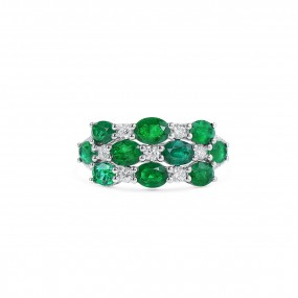 天然 绿色 祖母绿型 戒指, 2.36 重量 (2.77 克拉 总重)
