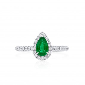 天然 Vivid Green 祖母绿型 戒指, 0.57 重量 (0.84 克拉 总重)