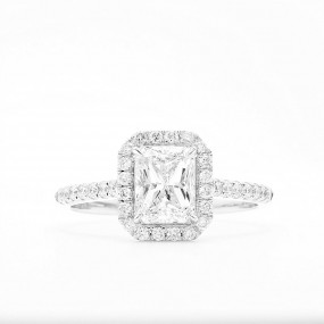 White Diamond Ring, 1.00 Ct. (1.28 Ct. TW), Radiant shape, GIA Certified, 7288045927