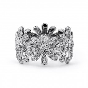 白色 钻石 戒指, 0.26 重量 (0.98 克拉 总重), 圆型 形状