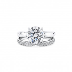 White Diamond Ring, 3.20 Ct. (3.46 Ct. TW), Round shape, GIA Certified, 1335086737