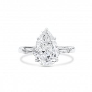 白色 钻石 戒指, 3.01 重量 (3.40 克拉 总重), 梨型 形状, GIA 认证, 7328870895