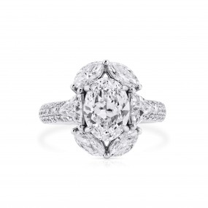白色 钻石 戒指, 2.01 重量 (3.68 克拉 总重), 椭圆型 形状, GIA 认证, 2205882422