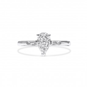 白色 钻石 戒指, 0.50 重量 (0.62 克拉 总重), 梨型 形状, GIA 认证, 3355551038