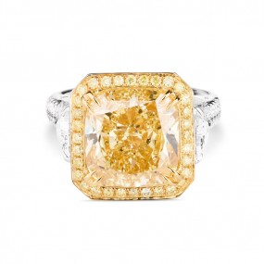 浓 黄色 钻石 戒指, 7.01 重量, 枕型 形状, GIA 认证, 2165837170